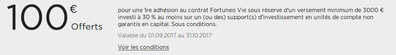 100 euros offerts sur l'assurance vie